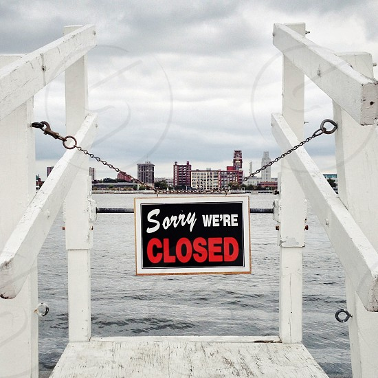 """""""Jersey Barrier"""" (Sorry We're Closed sign overlooking the Delaware River) photo"""