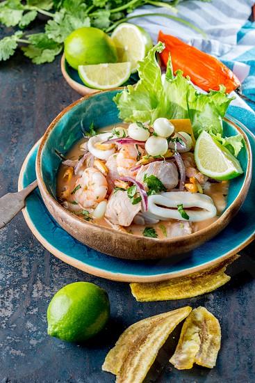 PERUVIAN CEVICHE SEBICHE. Peruvian seafood and fish sebiche with maize. photo