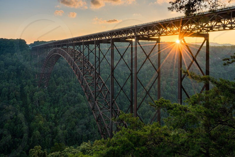 Steel bridge over the New River at New River Gorge National Park photo