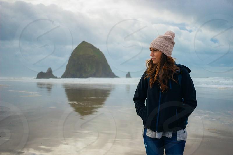 Girl on a winter beach  photo