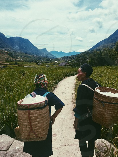 Vietnam Sapa trekking exploring ricefields mountains people outdoors travel. photo