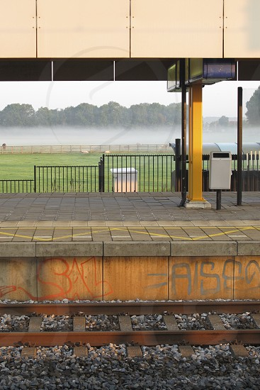 EARLY MORNING DEPARTURE STATION VOORSCHOTEN FOG photo