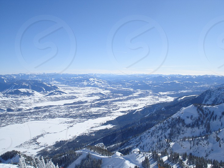 Scenic snow capped mountains Wyoming. photo