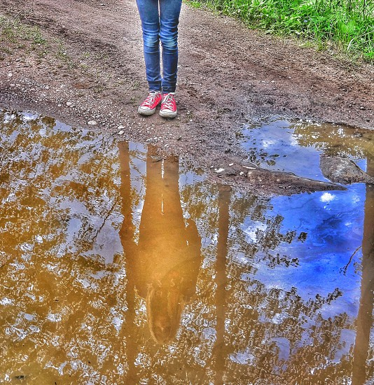 Reflection in a rainpuddle photo