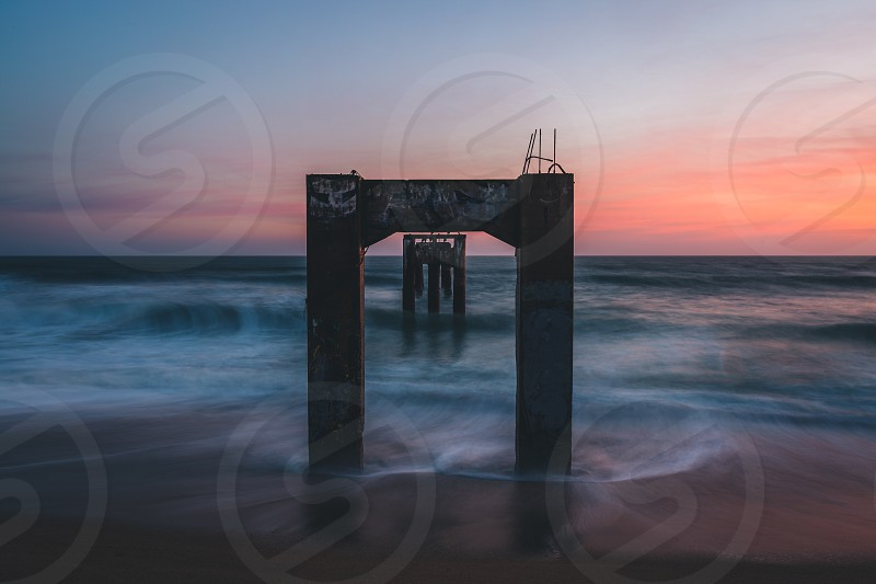 Forgotten Pier beach coast sunset golden hour waves Highway 1 California CA photo