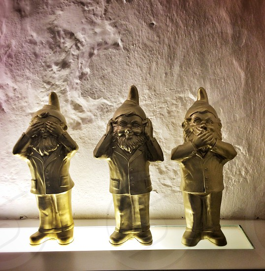 i see no evil i hear no evil i speak no evil gnome figure photo