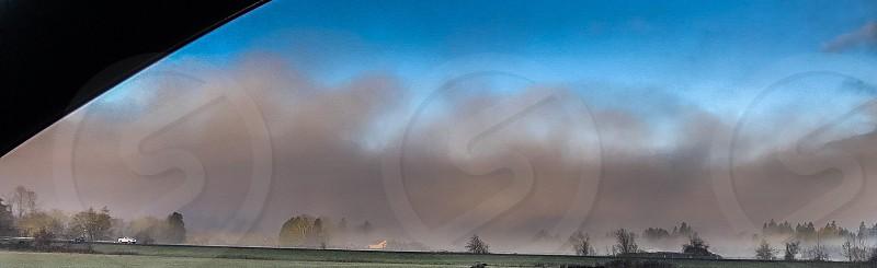 Fog field farm photo