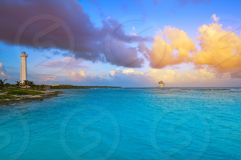 Mahahual Caribbean beach sunset in Costa Maya of Mayan Mexico photo