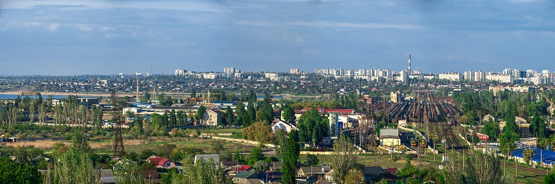 Panoramic top view of the industrial district of Odessa Ukraine on a sunny summer day photo