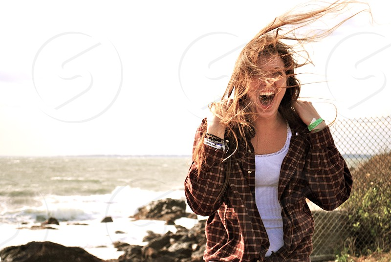 Windy day at the shore photo