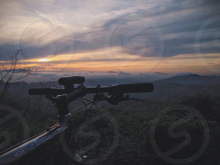 view of black mountain bike handle bard photo