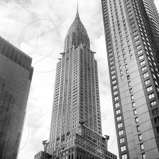 grayscale photo of high rise buildings photo