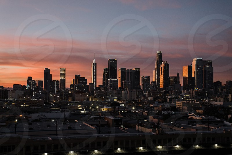 Beautiful sunset over the City of Angels photo