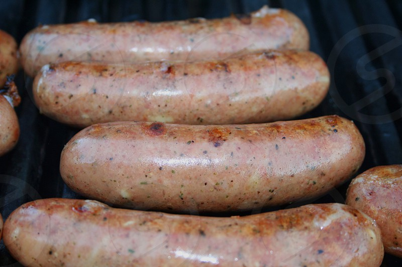 brown sausage on grill photo