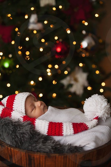 Baby Christmas festive holidays lights photo