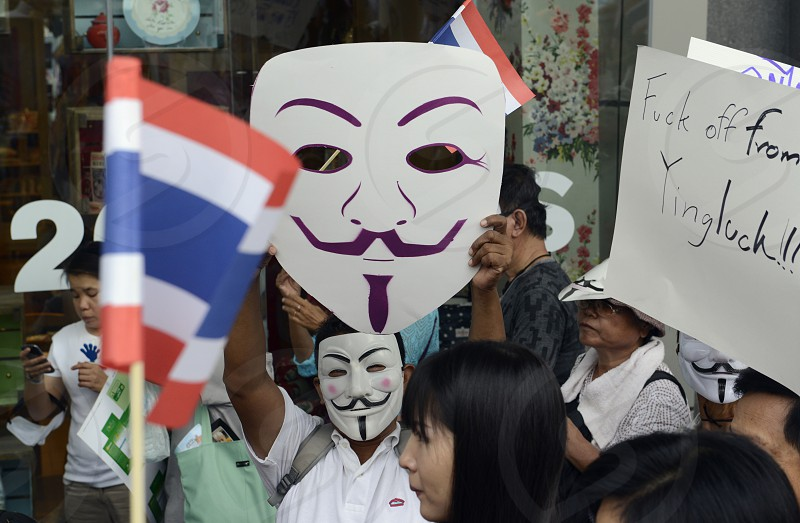 a political Protest at Pratunam in the city of Bangkok in Thailand in Suedostasien. photo