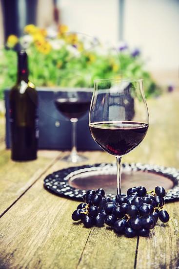 Wine. Wine glass. Outdoor.  photo