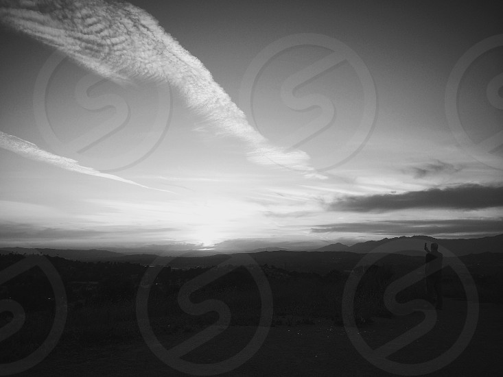 grayscale photography of sky photo
