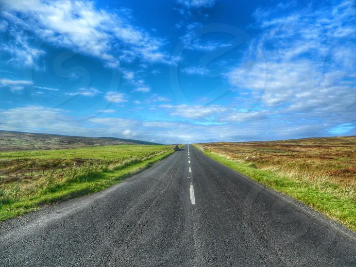 grey straight road between green grass photo