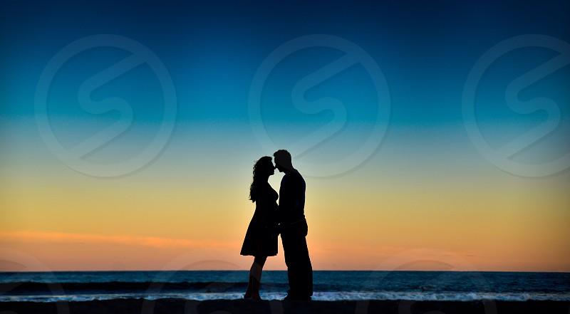 engaged couple on the east coast photo