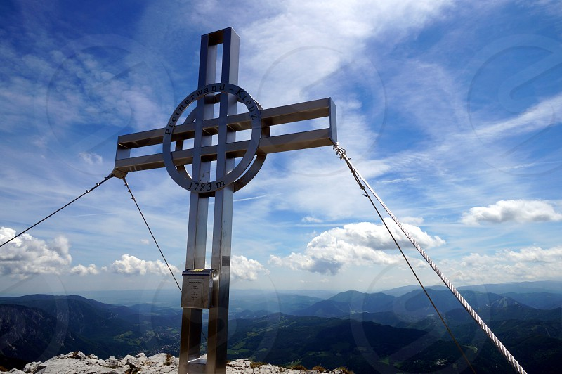 top cross mountain scenery view clouds  photo