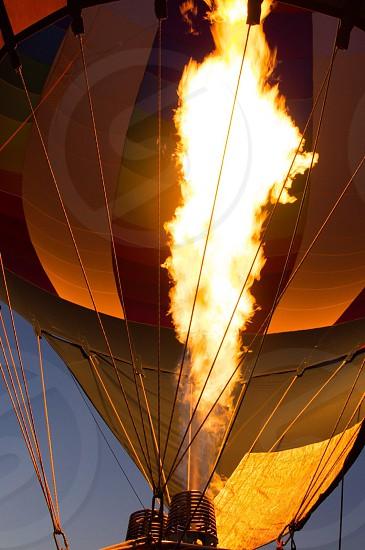 Flame fire burst burner hot air balloon balloon inflate night photo