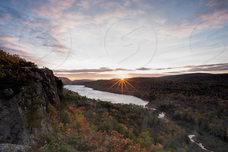 sunrise lake of the clouds porcupine mountains michigan Upper Peninsula fall autumn photo