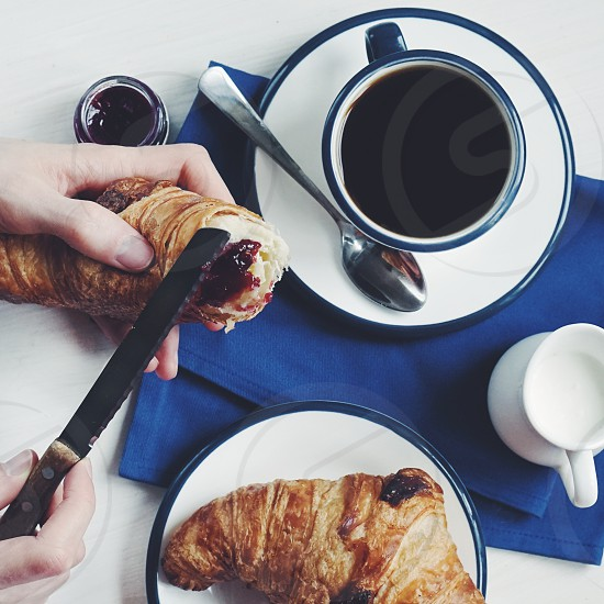 French breakfast croissant morning blue coffee milk  jam food photo