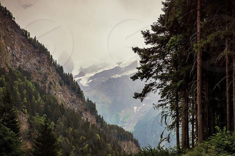 A mountain scenery from the Swiss Alps.  photo
