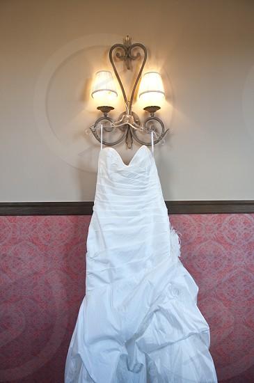 Wedding dress in unique shop photo