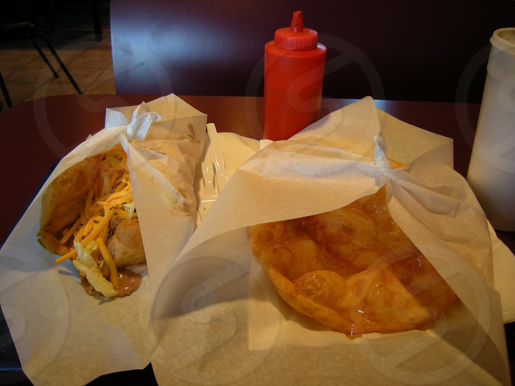 Fry bread taco and fry bread with honey photo