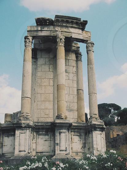 roman ruins with grey collumns photo