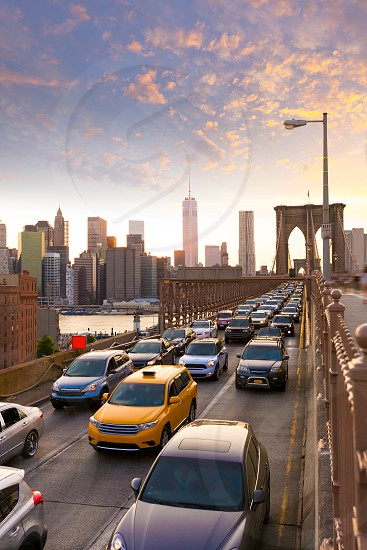 Brooklyn Bridge sunset New York Manhattan NY NYC USA photo