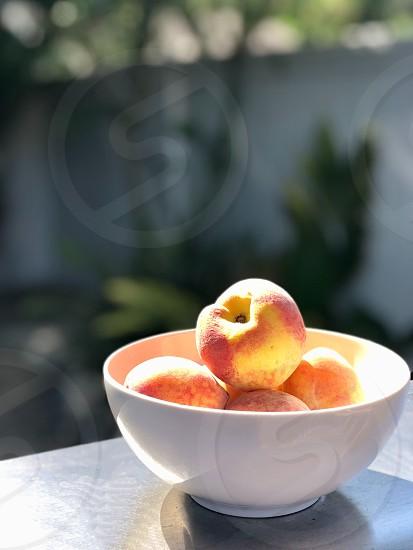 Health and wellness peaches bowl produce fresh fruit food plant photo