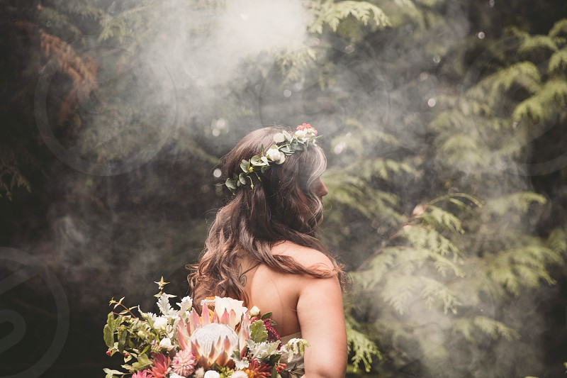 Wedding fog flowers bride outdoors nature  photo