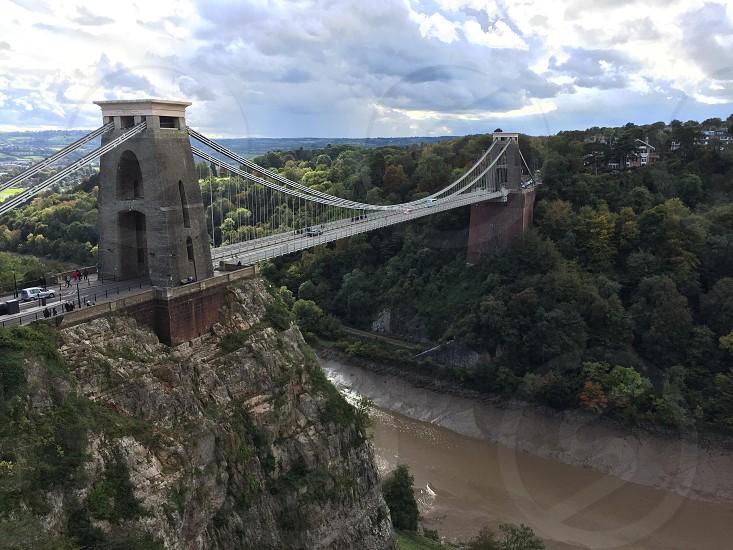 white bridge over the river photo