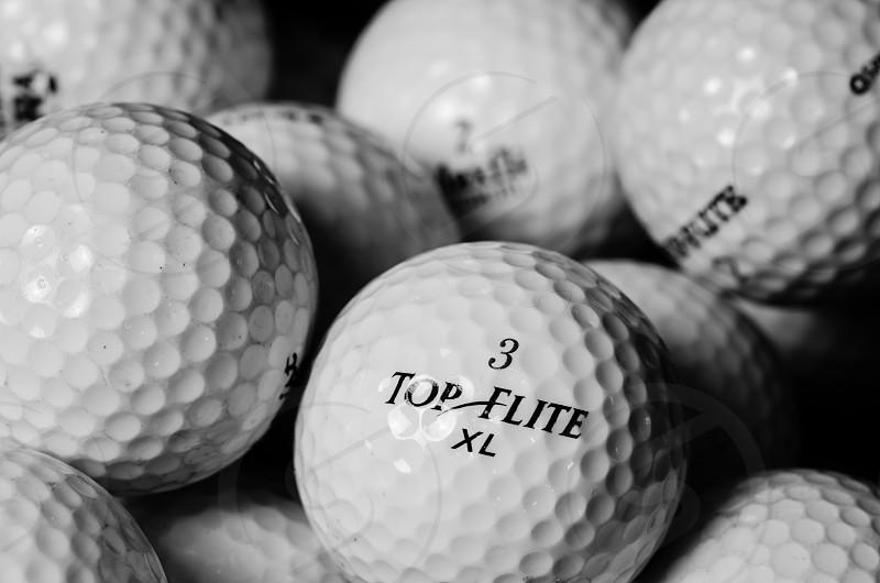 golf balls macro black and white sport close-up top elite XL game photo