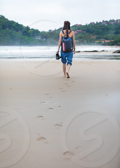 Beach backpack walk holiday Asia Thailand Koh Lanta photo