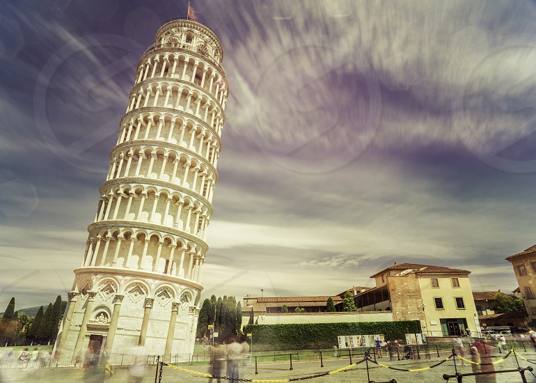 Leaning Tower of Pisa. Vintage style photo