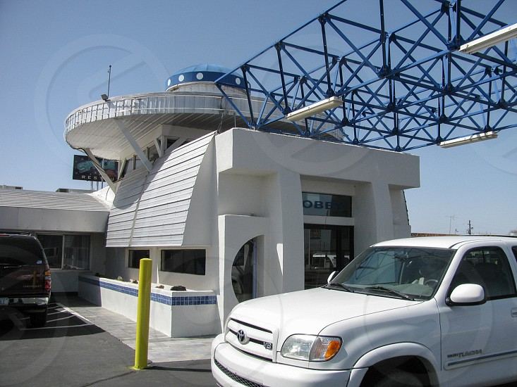 Office of the space travel themed Space Age Lodge motel in Gila Bend Arizona sets the tone for the 1960s futuristic modern style of the hotel. photo