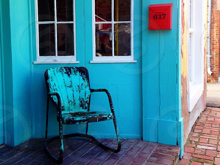 teal turquoise vintage teal chair teal wall turquoise wall red mailbox vintage chair photo