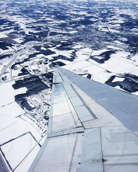 airplane wing flight ground flying plane travel photo