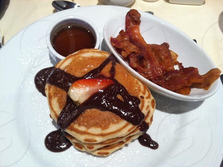 breakfast pancakes strawberry bacon photo
