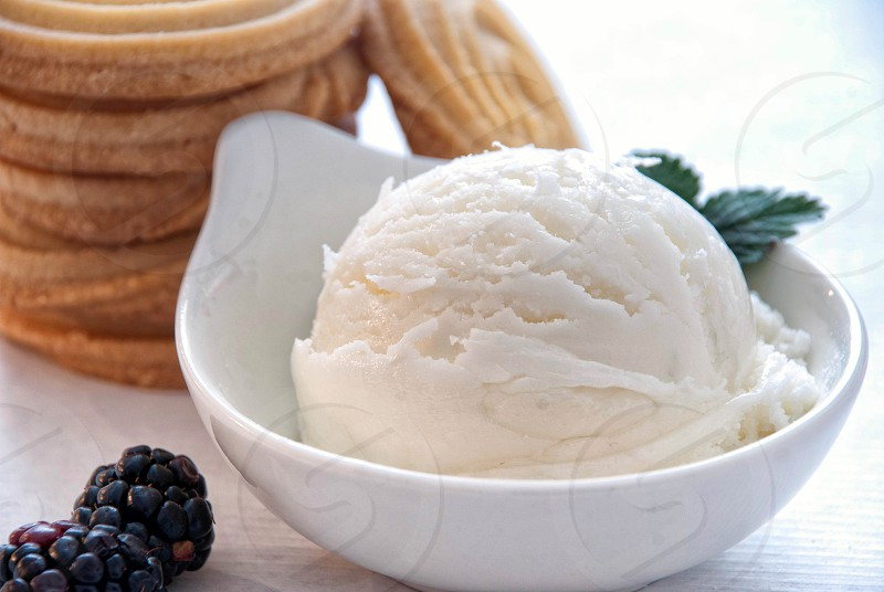Homemade vanilla ice cream with shortbread and blackberries. photo
