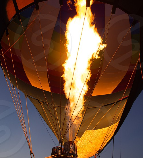Hot air balloon flame ignite glow night photo