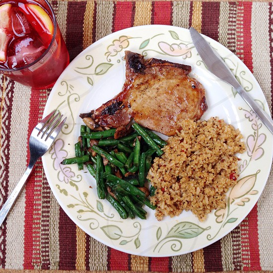 Baked Pork Chops Quinoa Brown Rice and Green Beans w/ Mushrooms photo