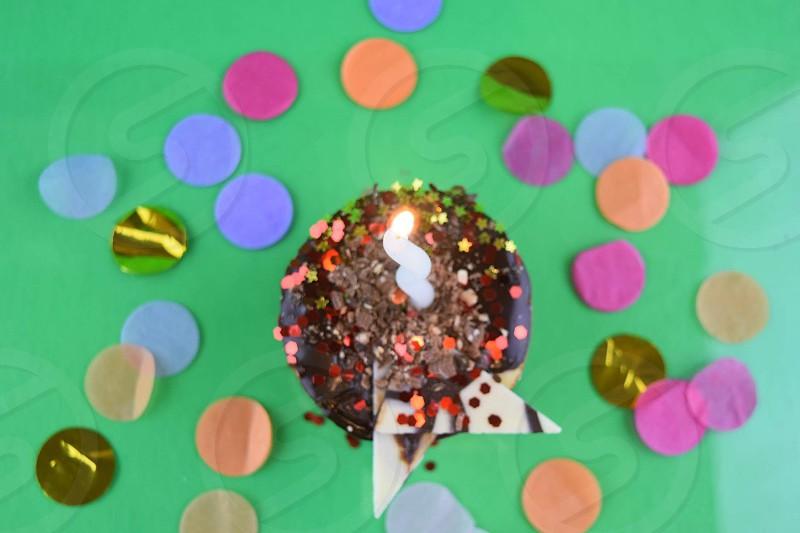 Sweet tooth chocolate cake celebrating  photo