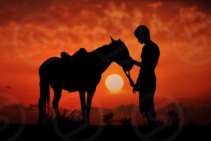 silhouette of man standing in front of horse at sunset photo