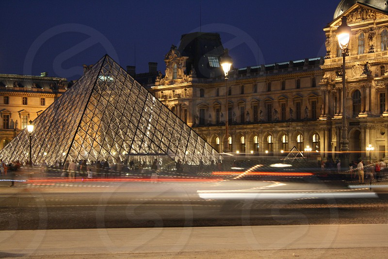 Paris Louvre dusk cityscape photo