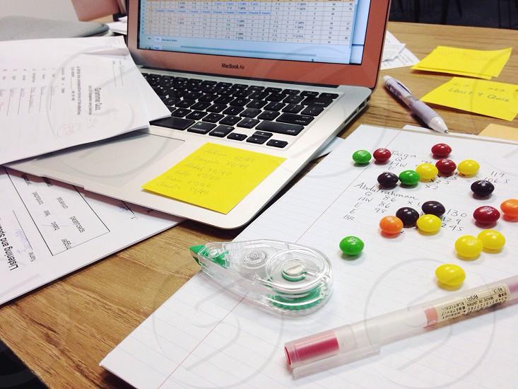 Teacher's office. Skittles. Technology. photo